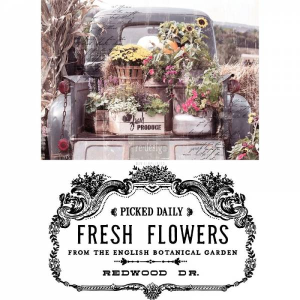 ReDesign Transferfolie Fresh Flowers Shabby World Rub on